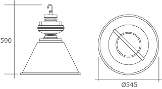 High Bay Induction Dimple Dome IP54 Dimensions