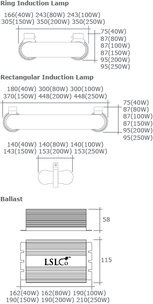 Induction Lamps & Ballasts Dimensions